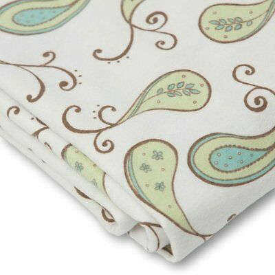 SwaddleDesigns Cotton Flannel Paisleys Fitted Crib Sheet, KiwI