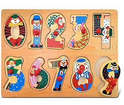 Puzzled Peg Puzzle Numbers Wooden Toys, Large