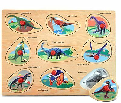 Puzzled Peg Puzzle Large - Dinosaurs Wooden Toys