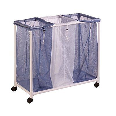 Honey-Can-Do HMP-01629 Mesh Laundry Sorter, Rolling, 3-Bag
