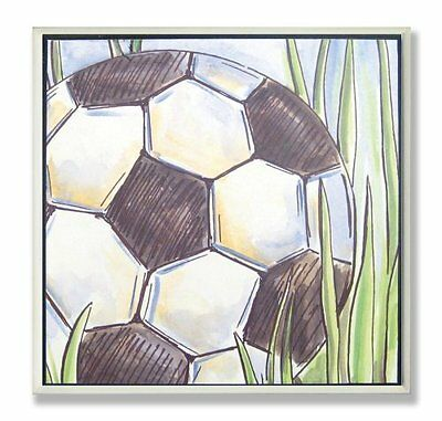The Kids Room by Stupell Soccer Ball on the Grass Square Wal