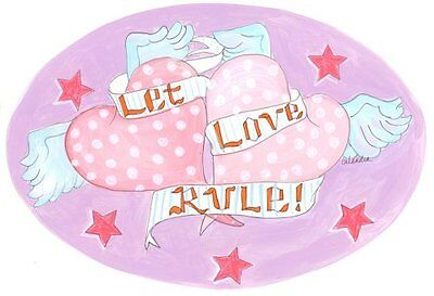 The Kids Room by Stupell Let Love Rule with Hearts Oval Wall