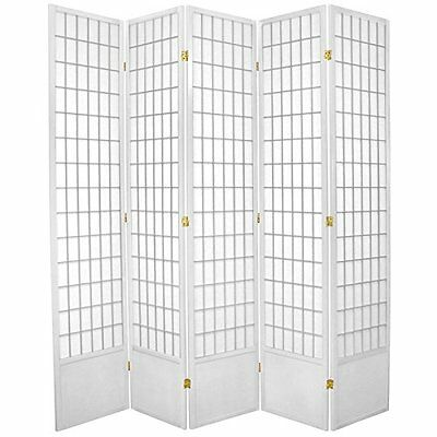 Oriental Furniture 7 ft. Tall Window Pane Shoji Screen - Whi