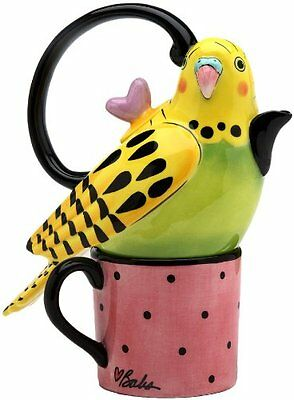 Appletree 7-1/4-Inch Ceramic Yellow Parakeet Tea For One