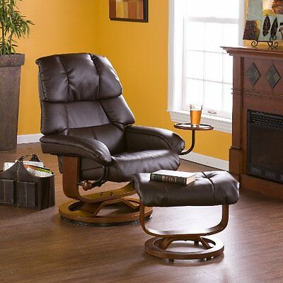 Bonded Leather Recliner and Ottoman - Caf© Brown