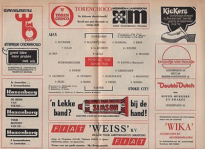 1974-75 AJAX  v STOKE CITY UEFA Cup programme 2nd October