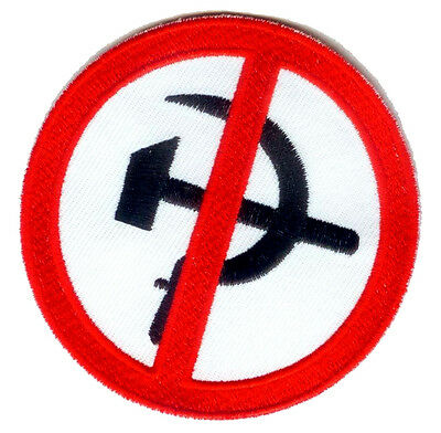 ANTI COMMUNIST AGAINST COMMUNISM NO COMMIES EMBROIDERED IRON-ON PATCH skinhead