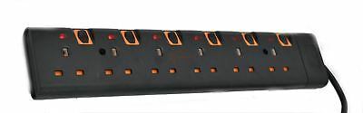 Black 2M 6 Way Gang Switched Surge Protected Extension Lead With Led Indicators