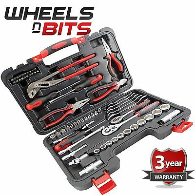 "65pc TOOL KIT in case 1/4 & 3/8"" Socket Set Screwdrivers Spanners Ratchets Plier"