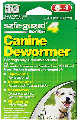 8 in1 Safe Guard Canine Dewormer for Small dog treat Tapeworm, Hookworm, 4 gram
