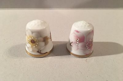 Rutherford England Pink Magnolia Blossom Bone China Hand Painted Thimble Lot 2