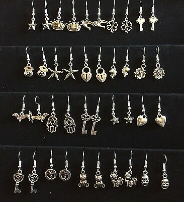 20 Mixed Pairs Tibetan Silver Earings. Job Lot. Wholesale. Bundle A