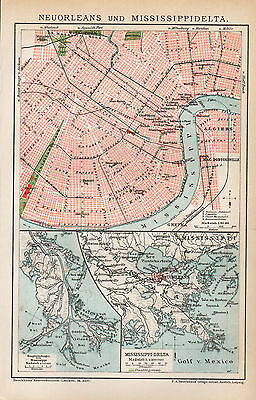 ca 1900 NEW ORLEANS CITY LOUISIANA MISSISSIPPI RIVER DELTA USA Antique Map