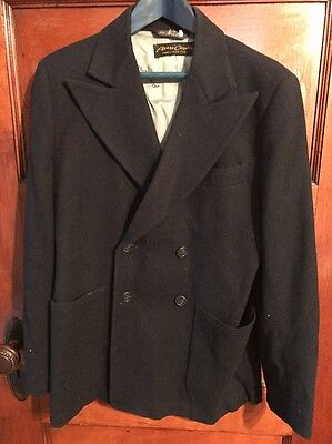 Vintage pierre cardin Boys Double Breasted Blazer 100% Wool Navy Couture Sz14