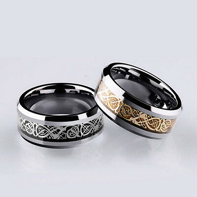 Tungsten Carbide Silver Wedding Band Stainless Steel Men's Dragon Rings
