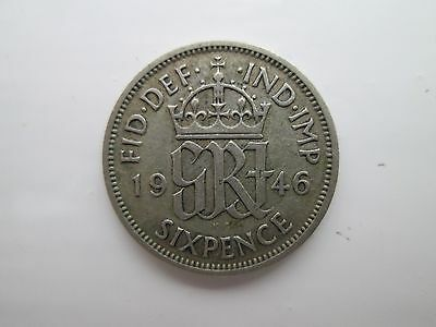 1946 George VI Silver Sixpence Coin
