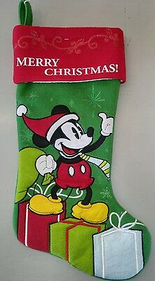New Mickey mouse red and green christmas stocking presents