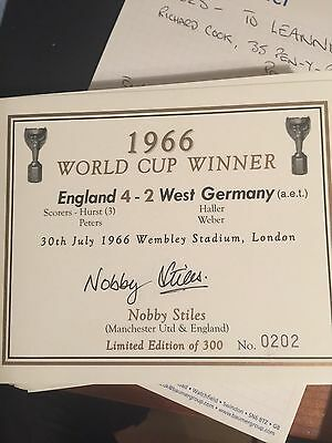 champagne label signed by England 66 World Cup Winner NOBBY STILES