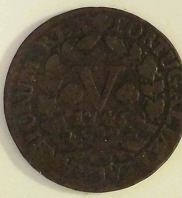 "Portugese ""1746 Portugal 5 Reis "" Copper  Coin Fine Condition"