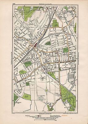 1923 London Street Map - Wimbledon,summerstown,merton,