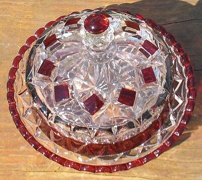 """EAPG CLEAR with RUBY STAIN  """"LOOP & BLOCK""""  COVERED BUTTER DISH"""
