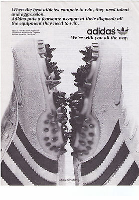 """1980 Adidas Canada """"With You All The Way"""" Track Shoe Print Advertisement"""