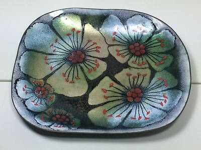 Vintage signed hand painted floral copper enamel tray
