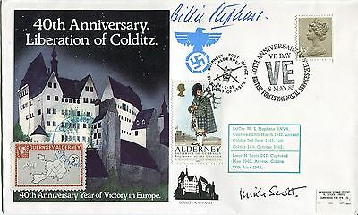 First Colditz 'Home Run' Escaper Billie Stephens signed cover