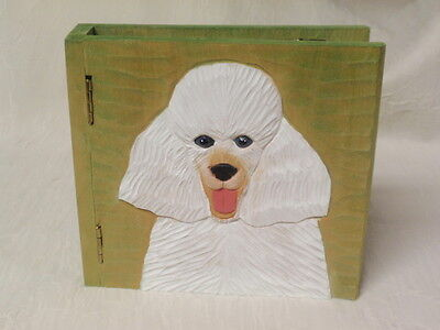 Carved Wood White Poodle Photo Album / Scrapbook