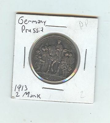 Germany, Prussia 1913 2 Mark, silver, nice color