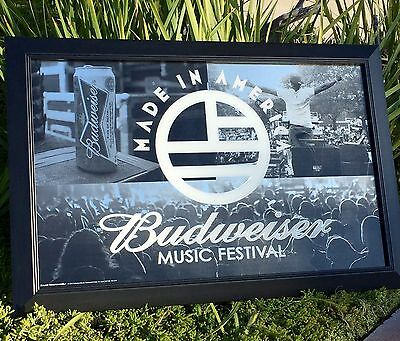 """Budweiser King Of Beers Music Festival Made In America Beer Bar Mirror """"New"""""""