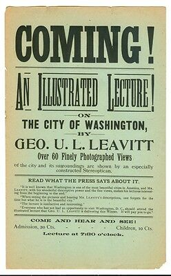 @1880s LEAVITT'S STEREOPTICON LECTURE on WASHINGTON DC Flyer MAGIC LANTERN SHOW