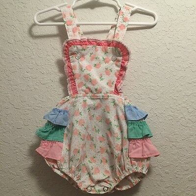 vtg baby girl toddler floral pink blue green sunsuit romper ruffle bum 2T 18/24m