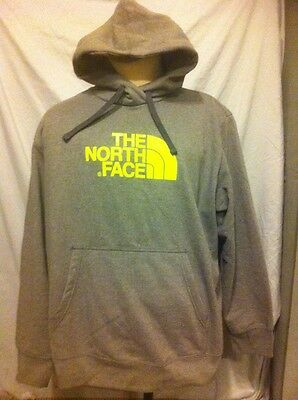 The North Face Mens XXL Hoodie Grey & Florescent Green Hooded Sweatshirt