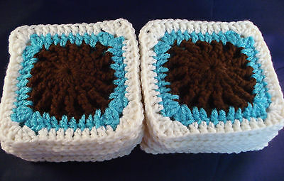 """Crochet Granny Squares Lot of 18 NEW Brown Turquoise Cream 5"""" Afghan Blocks"""