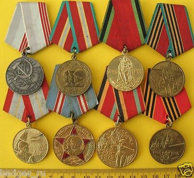 original SOVIET Medals Set of 8 rare USSR Russian metal pin Badges WW2 WWII