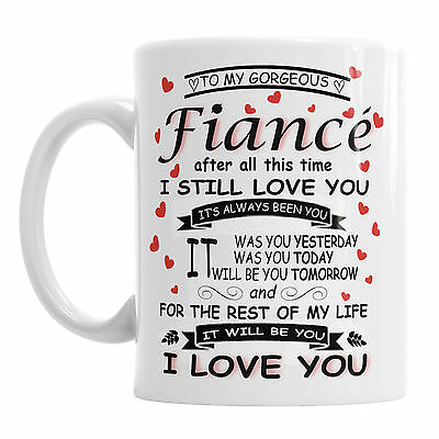 To My Gorgeous Fiance Novelty Mug Valentines Office Coffee Tea Cup