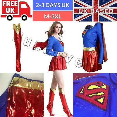 Girl Women Supergirl Superhero Costume Adult Superwoman Party Outfit Fancy Dress