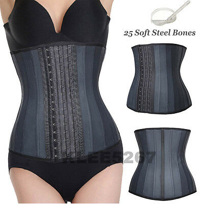 Beautiful 25 Boned 100% real Latex waist training Corset Shaper sport Trainer UK