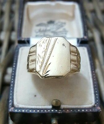 Vintage Solid Silver Men's Signet Ring, Gold Plated, Handcrafted, Size T½