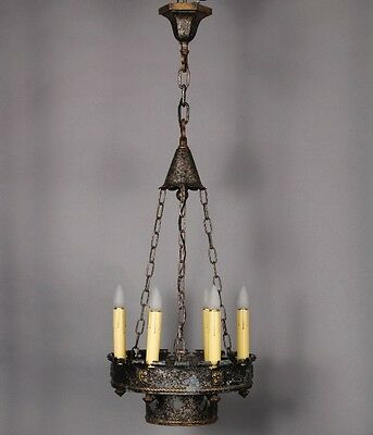 1920's Spanish Revival Antique 6 Light Narrow Chandelier Vintage Tudor (10008)