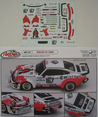 PORSCHE 934 TURBO n° 167 TOUR DE FRANCE 1977 DECAL 1/43e ARENA