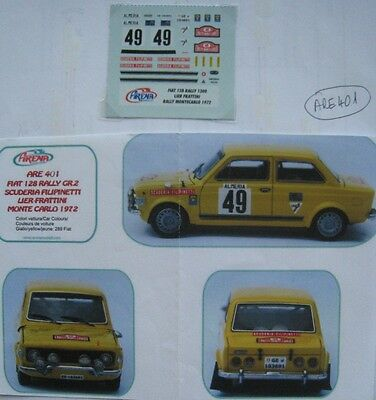 FIAT 128 RALLY n° 49 MONTE CARLO 1972 DECAL 1/43e ARENA