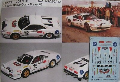 FERRARI 308 GTB n° 12 CINE WORLD RALLYE COSTA BRAVA 1985 DECAL 1/43e