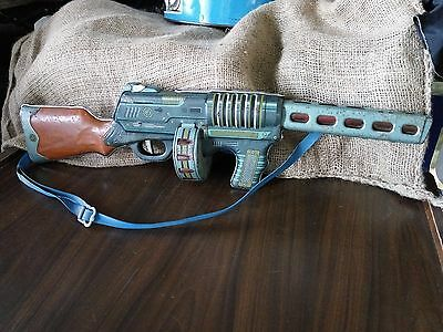 Vintage Sub Machine Tin Litho Gun Toy Battery Operated Made in China