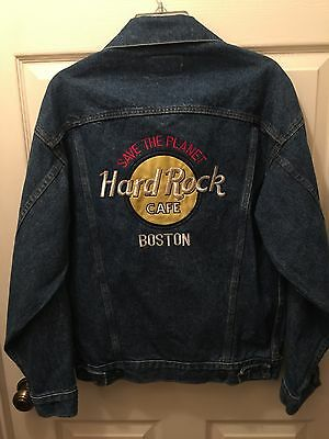 HARD ROCK CAFE  BOSTON EMBROIDERED DENIM JACKET SAVE THE PLANET Small S Levi