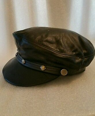 Vintage Leather Harley Davidson Marlon Brando Hat Cap Small Made in USA Genuine