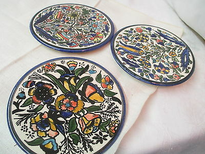 Vintage 3 Art Pottery wall mount plates hand painted