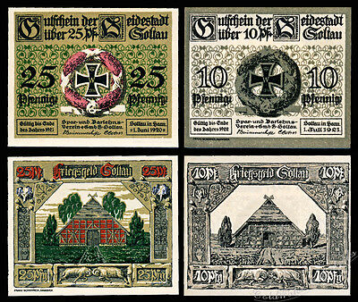 Soltau Notgeld / 1921 / Set of Two Notes - UNC - Iron Cross with Wreath