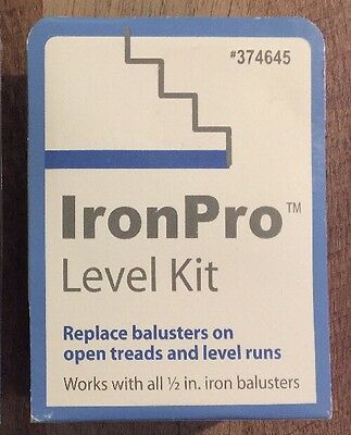 "(LOT OF 2) IronPro Level (BLACK) Open Tread Stairway Kit for 1/2"" Iron Baluster"
